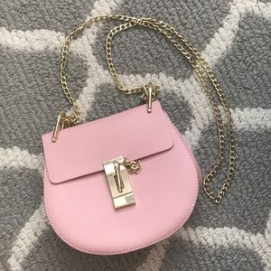 Handbags - Blush Crossbody Bag with Gold Strap & Hardware